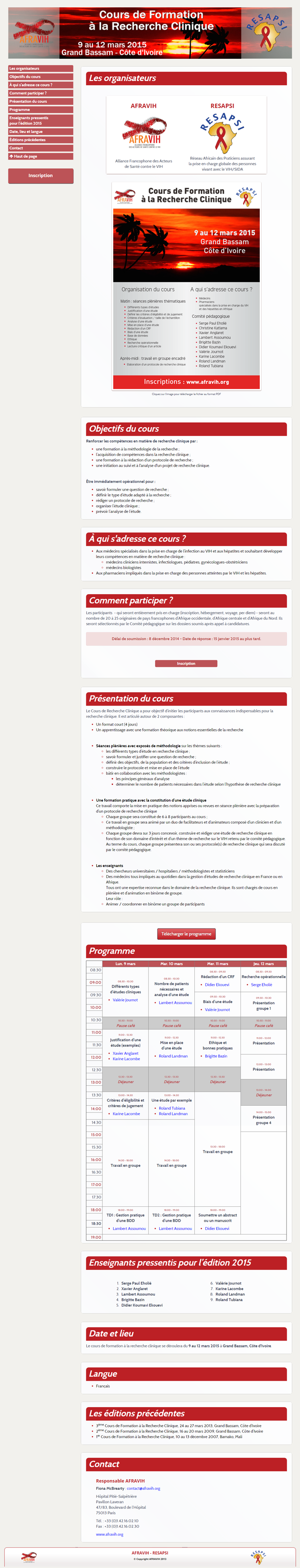 Gestion de manifestation - Site promotionnel